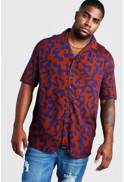 Mens Rust Big & Tall Revere Collar Abstract Print Shirt