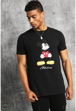 Mens Black Disney Angry Mickey Print T-Shirt