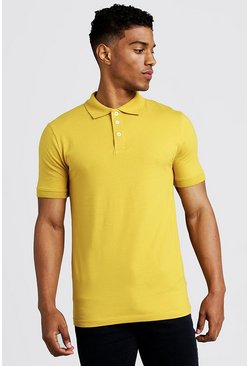 Mens Mustard Muscle Fit Jersey Polo