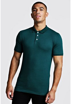 Teal Muscle Fit Jersey Polo