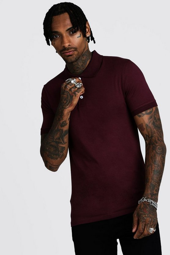 Mens Burgundy Muscle Fit Jersey Polo