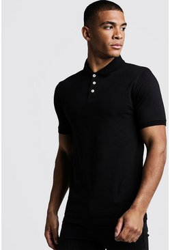 Mens Black Muscle Fit Jersey Polo
