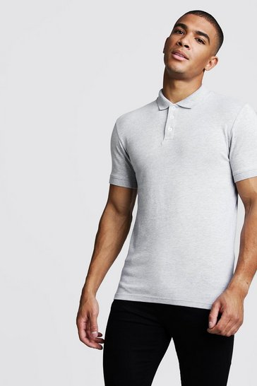 Mens Grey Muscle Fit Jersey Polo