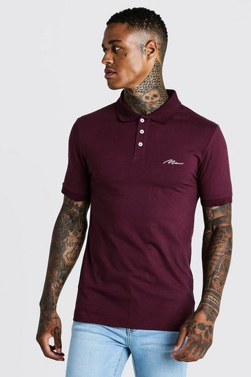 Mens Burgundy MAN Signature Muscle Fit Jersey Polo