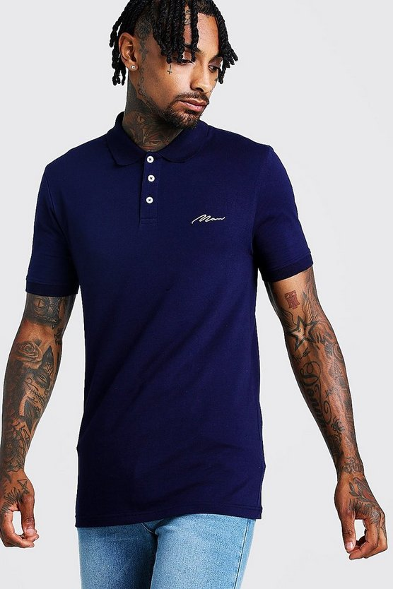 Navy MAN Signature Muscle Fit Jersey Polo
