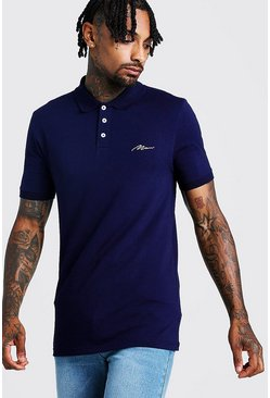 Mens Navy MAN Signature Muscle Fit Jersey Polo