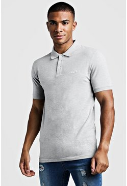 Dam Grey Man Signature Piké i jersey med muscle fit
