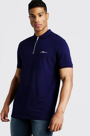Mens Navy MAN Signature Pique Zip Placket Polo