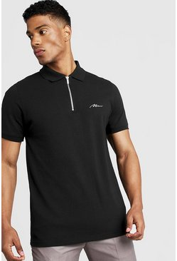 Mens Black MAN Signature Pique Zip Placket Polo