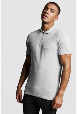 Grey MAN Signature Pique Zip Placket Polo