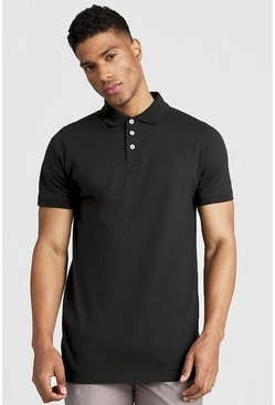 Polo long en jersey, Noir, Homme