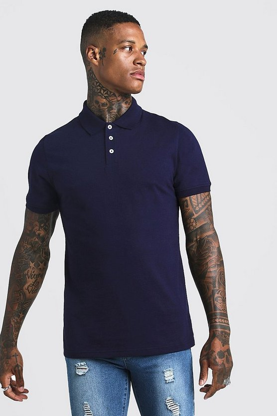 Navy Muscle Fit Jersey Polo