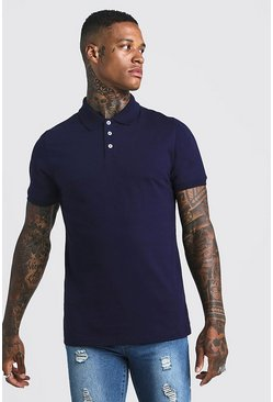 Mens Navy Muscle Fit Jersey Polo