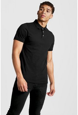 Black Muscle Fit Jersey Polo