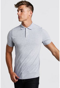 Grey Muscle Fit Jersey Polo