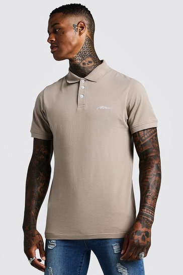 Mens Taupe MAN Signature Pique Polo