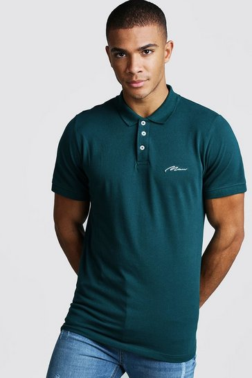 Mens Teal MAN Signature Pique Polo