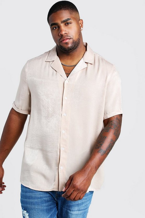 Ecru Big & Tall Revere Collar Crepe Shirt