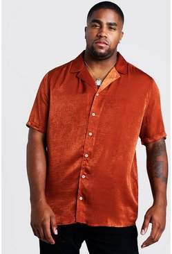 Camicia Big & Tall in crêpe con colletto risvoltato, Ruggine, Maschio