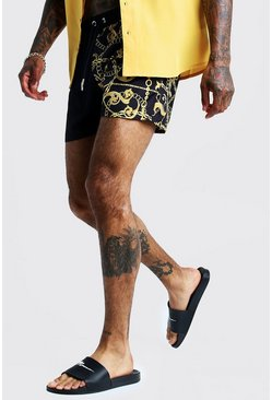 Mens Black Baroque Spliced Short Length Swim Short