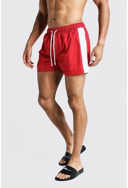 Mens Red Side Panel Mid Length Swimshort