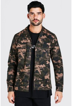 Mens Khaki Camo will Utility Button Through Shacket