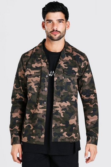 Khaki Camo will Utility Button Through Shacket