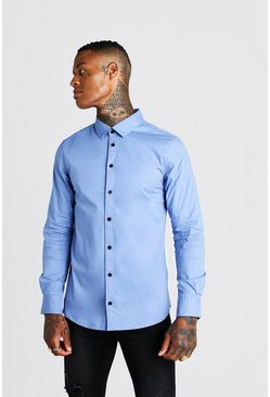 Mens Blue Muscle Fit Long Sleeve Shirt