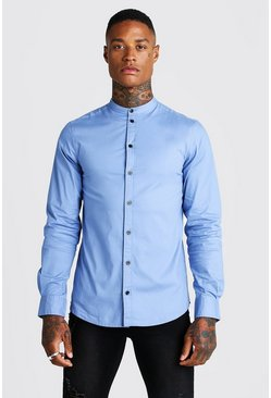 Mens Blue Muscle Fit Grandad Collar Long Sleeve Shirt