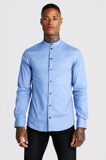 Blue Muscle Fit Grandad Collar Long Sleeve Shirt