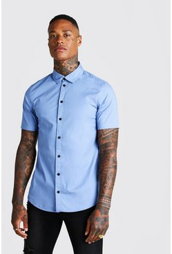 Herr Blue Muscle Fit Short Sleeve Shirt