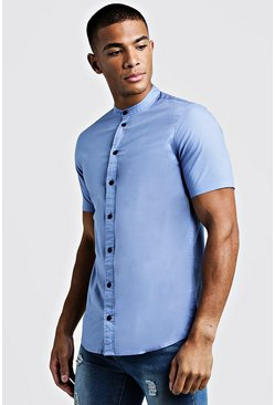 Blue Muscle Fit Grandad Collar Short Sleeve Shirt