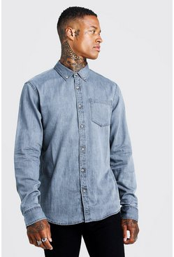 Camicia slim fit in denim con bottoni in corno, Grigio, Maschio
