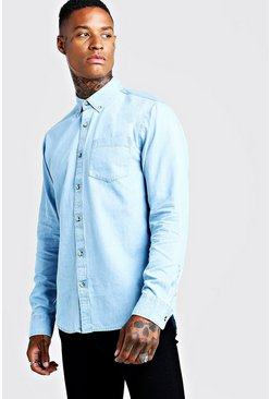 Camicia slim fit in denim con bottoni in corno, Azzurro, Maschio