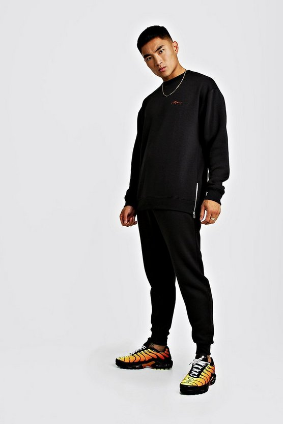 Black MAN Longline AW19Slim Fit Tracksuit with Side Zips