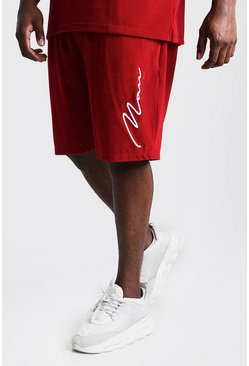 Red Big & Tall Velour Shorts 3D MAN Embroidery