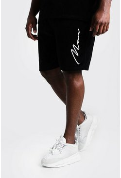 Mens Black Big & Tall Velour Shorts 3D MAN Embroidery