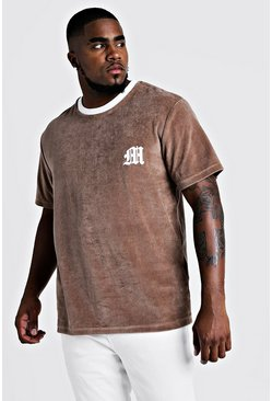 Mens Taupe Big & Tall Velour T-Shirt With 3D Embroidered M