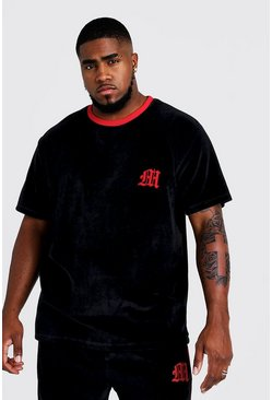 Mens Black Big & Tall Velour T-Shirt With 3D Embroidered M