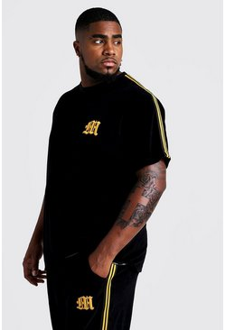 Mens Black Big & Tall Velour T-Shirt With Side Tape