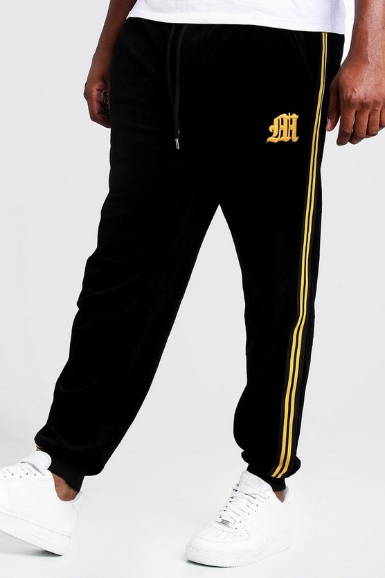 Black Big & Tall Velour Jogger With Side Tape