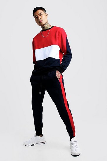 Navy Colour Block Sweater Tracksuit