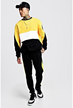 Mens Yellow Colour Block Sweater Tracksuit