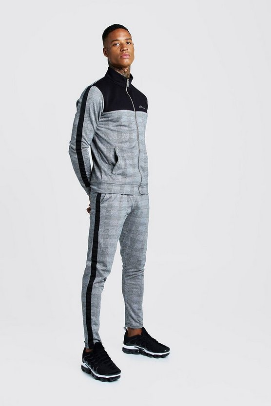 Black MAN Signature Check Smart Tracksuit With Panels
