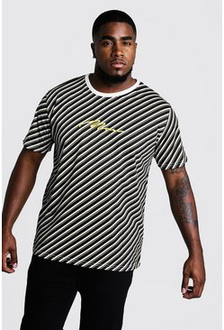 Mens Mustard Big & Tall Stripe T-Shirt With MAN Embroidery