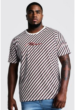 White Big & Tall Stripe T-Shirt With 3D MAN Embroidery