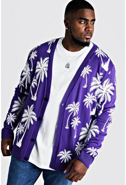 Mens Purple Big & Tall All Over Palm Print Knitted Cardigan