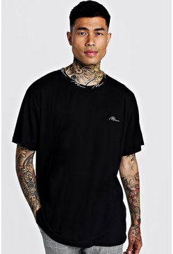 Mens Black MAN Signature Rib Oversized T-Shirt