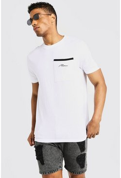 MAN Signature Pocket T-Shirt, White, Uomo