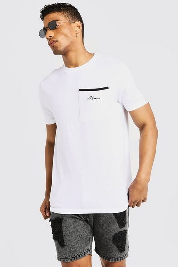 Mens White MAN Signature Pocket T-Shirt
